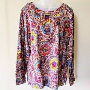 Talbots Paisley Print Multi-color Blouse, Size 14